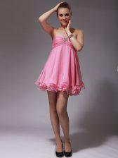 Exceptional Sweetheart Sleeveless Homecoming Dress Mini Length Ruching Rose Pink Chiffon