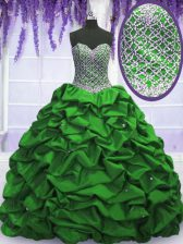 Gorgeous Strapless Lace Up Beading and Sequins and Pick Ups 15th Birthday Dress Sleeveless