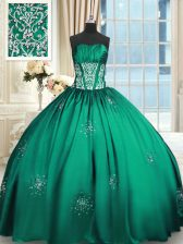 Luxurious Teal Lace Up Vestidos de Quinceanera Beading and Appliques and Ruching Sleeveless Floor Length