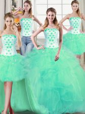 Four Piece Turquoise Lace Up Strapless Beading and Appliques and Ruffles Sweet 16 Quinceanera Dress Tulle Sleeveless
