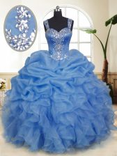 Deluxe Blue Quinceanera Gown Military Ball and Sweet 16 and Quinceanera with Beading and Ruffles and Pick Ups Straps Sleeveless Zipper