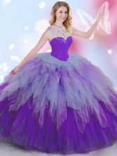 Sleeveless Tulle Floor Length Zipper 15th Birthday Dress in Multi-color with Beading and Ruffles