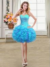 Multi-color Lace Up Sweetheart Beading and Ruffles Prom Party Dress Organza Sleeveless