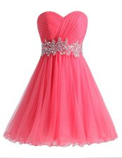 Hot Pink A-line Chiffon and Tulle Sweetheart Sleeveless Beading and Ruching Knee Length Lace Up Homecoming Dress