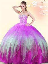 Multi-color Sleeveless Beading Floor Length Sweet 16 Dress