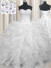 High End Organza Sweetheart Sleeveless Lace Up Beading and Ruffles 15th Birthday Dress in White