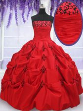 Glittering Red Sleeveless Floor Length Appliques and Pick Ups Lace Up Quince Ball Gowns