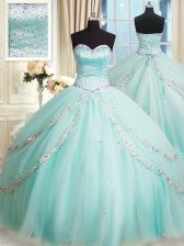 Brush Train Ball Gowns Quinceanera Dress Apple Green Sweetheart Tulle Sleeveless With Train Lace Up