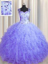 See Through Zipper Up Lavender Zipper 15 Quinceanera Dress Beading and Ruffles Sleeveless Floor Length