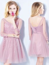 Traditional Sleeveless Tulle Mini Length Lace Up Vestidos de Damas in Pink with Appliques and Belt