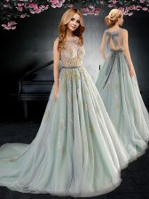 Scoop With Train Backless Prom Gown Apple Green for Prom with Appliques and Bowknot Brush Train