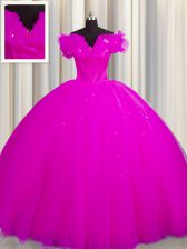 Fashion Fuchsia 15 Quinceanera Dress Military Ball and Sweet 16 and Quinceanera with Ruching Off The Shoulder Short Sleeves Court Train Lace Up