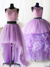 Deluxe Three Piece Scoop Lilac Sleeveless Organza and Tulle Brush Train Zipper Sweet 16 Dresses for Military Ball and Sweet 16 and Quinceanera