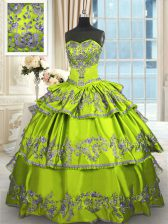 Sleeveless Taffeta Floor Length Lace Up Quinceanera Dress in Yellow Green with Embroidery and Ruffled Layers
