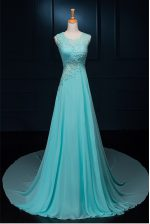 Custom Design Scoop Baby Blue Sleeveless Chiffon Brush Train Zipper Homecoming Dress for Prom and Party