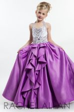 Halter Top Lilac Sleeveless Taffeta Zipper Little Girls Pageant Gowns for Party and Wedding Party
