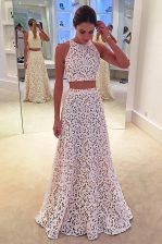 Scoop Floor Length Zipper Prom Gown White for Prom with Lace