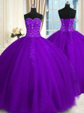Popular Sleeveless Lace Up Floor Length Appliques Vestidos de Quinceanera
