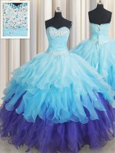 Glorious Multi-color Sleeveless Organza Lace Up 15 Quinceanera Dress for Military Ball and Sweet 16 and Quinceanera