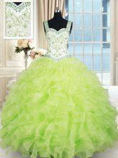 Elegant Straps Floor Length Yellow Green Ball Gown Prom Dress Organza Sleeveless Beading and Ruffles