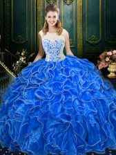 Inexpensive Scoop Sleeveless Floor Length Lace and Ruffles Zipper Quinceanera Dress with Royal Blue