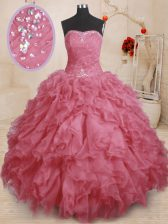 Artistic Pink Lace Up Sweet 16 Dress Beading and Ruffles and Ruching Sleeveless Floor Length