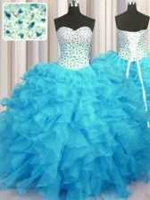 Gorgeous Baby Blue Organza Lace Up Quince Ball Gowns Sleeveless Floor Length Beading and Ruffles