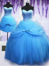 Cute Three Piece Baby Blue Sleeveless Beading and Bowknot Floor Length Sweet 16 Dress