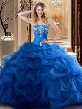 Unique Royal Blue 15 Quinceanera Dress Military Ball and Sweet 16 and Quinceanera with Embroidery and Ruffles Sweetheart Sleeveless Lace Up