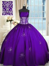 Unique Floor Length Lace Up Sweet 16 Dress Purple for Military Ball and Sweet 16 with Beading and Appliques and Ruching
