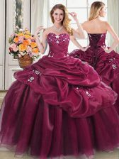 Wonderful Burgundy Sweetheart Neckline Appliques and Pick Ups Ball Gown Prom Dress Sleeveless Lace Up