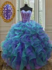 Glorious Ball Gowns Quinceanera Gown Multi-color Sweetheart Organza Sleeveless Floor Length Lace Up