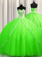 Tulle Sleeveless Sweet 16 Quinceanera Dress Brush Train and Beading
