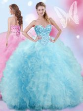 Eye-catching Sleeveless Tulle Floor Length Lace Up Sweet 16 Quinceanera Dress in Baby Blue with Beading and Ruffles