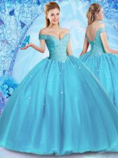 Lovely Baby Blue Ball Gowns Tulle Off The Shoulder Sleeveless Beading Floor Length Lace Up 15 Quinceanera Dress