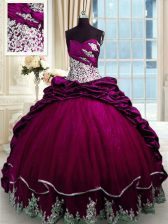 Traditional Sweetheart Sleeveless Taffeta Sweet 16 Dresses Beading and Appliques and Pick Ups Brush Train Lace Up