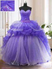 Purple Sweetheart Lace Up Beading and Ruffled Layers Quinceanera Gown Sweep Train Sleeveless