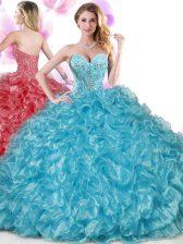 Floor Length Blue Sweet 16 Quinceanera Dress Organza Sleeveless Beading and Ruffles