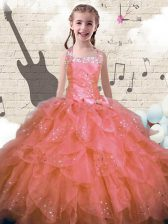 Ball Gowns Little Girl Pageant Dress Pink Halter Top Organza Sleeveless Floor Length Lace Up