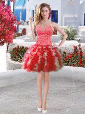 High Quality Sweetheart Sleeveless Mini Length Beading and Ruffles Red Organza