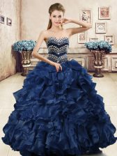 Wonderful Ball Gowns Quinceanera Gown Navy Blue Sweetheart Organza Sleeveless Floor Length Lace Up