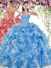 Blue And White Ball Gowns Beading and Ruffles Quince Ball Gowns Lace Up Organza Sleeveless Floor Length
