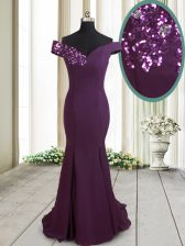 Mermaid Chiffon Off The Shoulder Sleeveless Brush Train Zipper Beading and Sequins Prom Evening Gown in Dark Purple