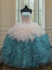 Custom Design Blue And White Ball Gown Prom Dress Military Ball and Sweet 16 and Quinceanera with Beading and Ruffles Strapless Sleeveless Lace Up