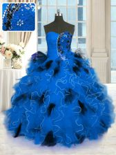 Deluxe Floor Length Lace Up Ball Gown Prom Dress Blue for Military Ball and Sweet 16 and Quinceanera with Beading and Ruffles