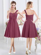 One Shoulder Burgundy Sleeveless Knee Length Ruching Zipper Quinceanera Dama Dress