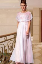 Extravagant Pink Column/Sheath Chiffon Scoop Cap Sleeves Beading Ankle Length Side Zipper Evening Dress