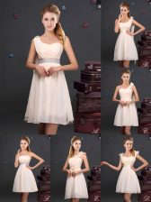 Best Selling Ruffles and Sequins and Ruching and Bowknot and Hand Made Flower Quinceanera Court of Honor Dress Champagne Zipper Sleeveless Mini Length