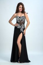 New Arrival Sleeveless Chiffon With Brush Train Zipper Homecoming Dress in Black with Beading
