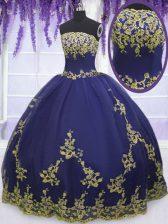 Artistic Ball Gowns Sweet 16 Dress Navy Blue Strapless Tulle Sleeveless Floor Length Zipper
